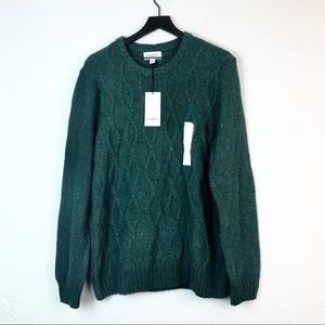 Goodfellow Cabin Knit Sweater Green Pullover L